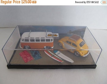 ON SALE Volkswagon Bus and Volkswagon Bug with surfboards