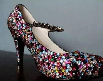 fully jeweled court shoe