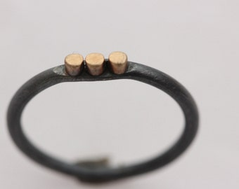 Oxidized Sterling Silver with 14k Gold Ring