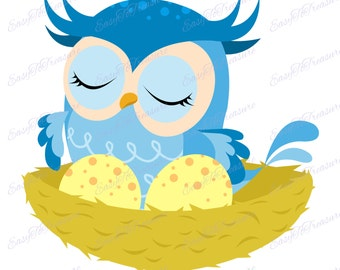 Digital Download Clipart – Blue Owl Sitting in Nest with Eggs JPEG and PNG files