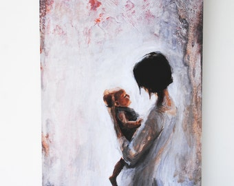 Mother and Child Original Painting Fine Art Print