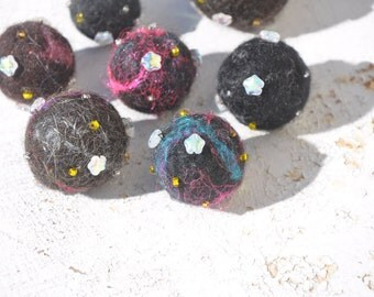 Felted Space Nebula Beads OR Ornaments OR Felted Marbles, Handmade Felted Beads, SciArt Astronomy SciFi Lovers Jewelry Galaxy Universe