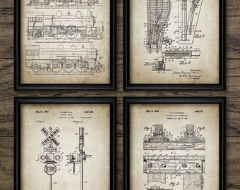 Vintage Railroad Patent Print Set Of 4 - Steam Locomotive - Railroad Crossing - Track Design - Set Of Four Prints #988 - INSTANT DOWNLOAD