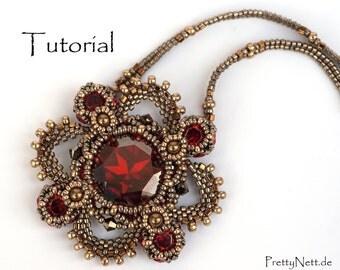 """Beading Pattern - Beading Tutorial for pendant """"Royal Clover"""""""