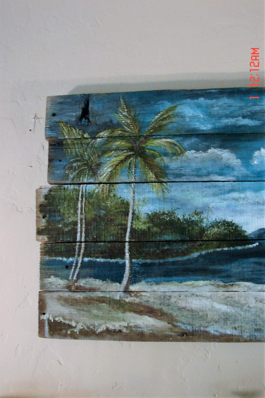 Reclaimed Wood Wall Art Tropical Ocean Beach Seascape Palm