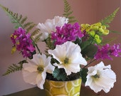 White Poppy Floral Arrangement, White Poppies, Purple Lilacs, Spring Floral Arrangement, Lime Vase, White, Purple, Green Floral Arrangement