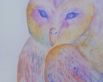 Rainbow Owl Watercolor Painting