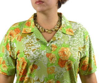 70's Vintage Top  Blouse Short Sleeve Green Notched Collar