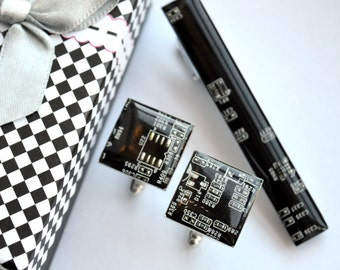 Cuff Links and Tie Clip set - Computer Circuit Board Accessories - antique silver, resin