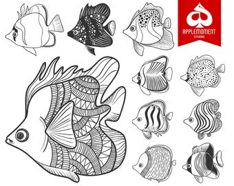 Fish Doodle Digital Clipart for Personal and Commercial Use