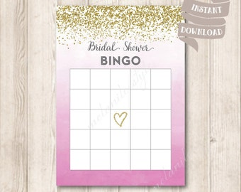 Gold and Pink Ombre Bridal Shower Bingo Cards, Gold Glitter, Watercolor Pink Magenta Bridal Shower Party Game Printable, INSTANT DOWNLOAD