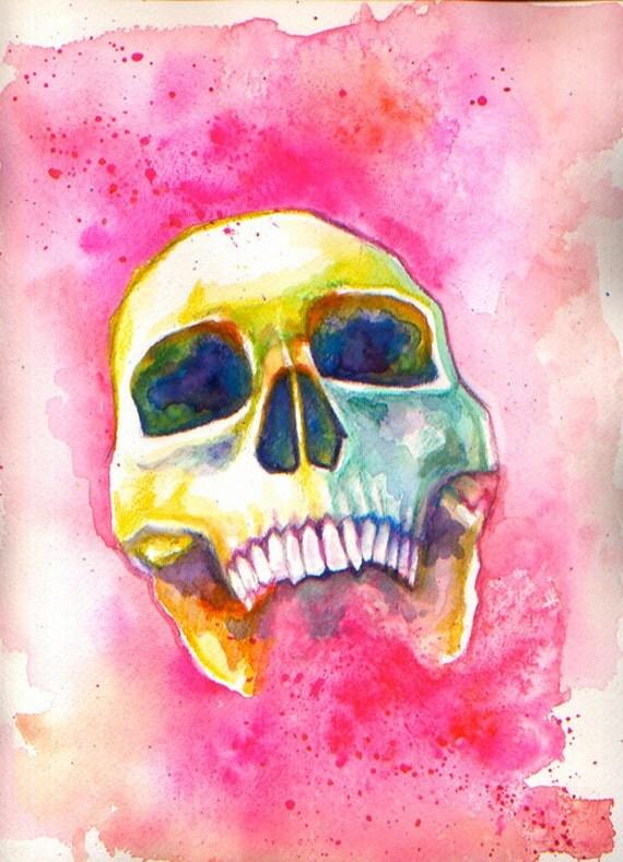 Colorful Skull (Pink): Original Watercolor