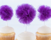 Dark Purple Tulle Pom- cupcake pom pom- Tulle pom- Halloween decor- Halloween party- Princess party- Royal party