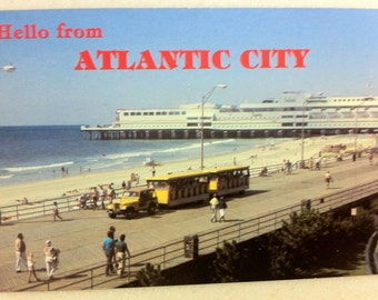 Vintage Postcard Atlantic City, N.J. Ocean One Shopping Mall with Yellow Tram Boardwalk Trolley