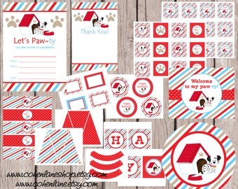 INSTANT DOWNLOAD Printable Puppy Birthday Party Package. Digital You Print Party Package. Puppy Package. Puppy Birthday Party Pack.
