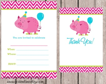 Instant Download Fill In Pink Pig Birthday Party Invitation. Fill in Invitations and Thank you card.  Pink Pig Invitation.