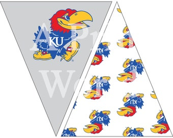 University of Kansas printable flags with Jawhawk. Easy Party decorations for any basketball or football fan. Immediate download for decor