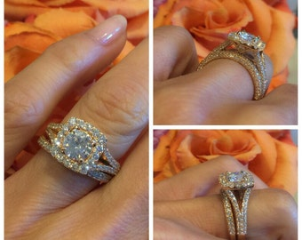 18k Rose Gold Moissanite Engagement Ring SET  1.20ct Round Forever one Moissanite and 1.36ct Natural Diamonds Wedding Pristine Custom Rings