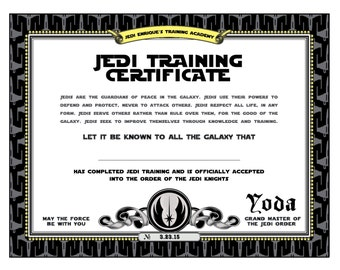 Star wars birthday jedi training certificate by for Star wars jedi certificate template free