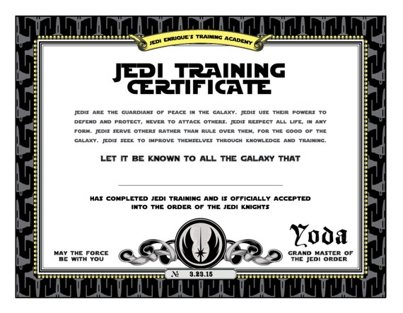 Star wars birthday jedi training certificate printable for Jedi certificate template free