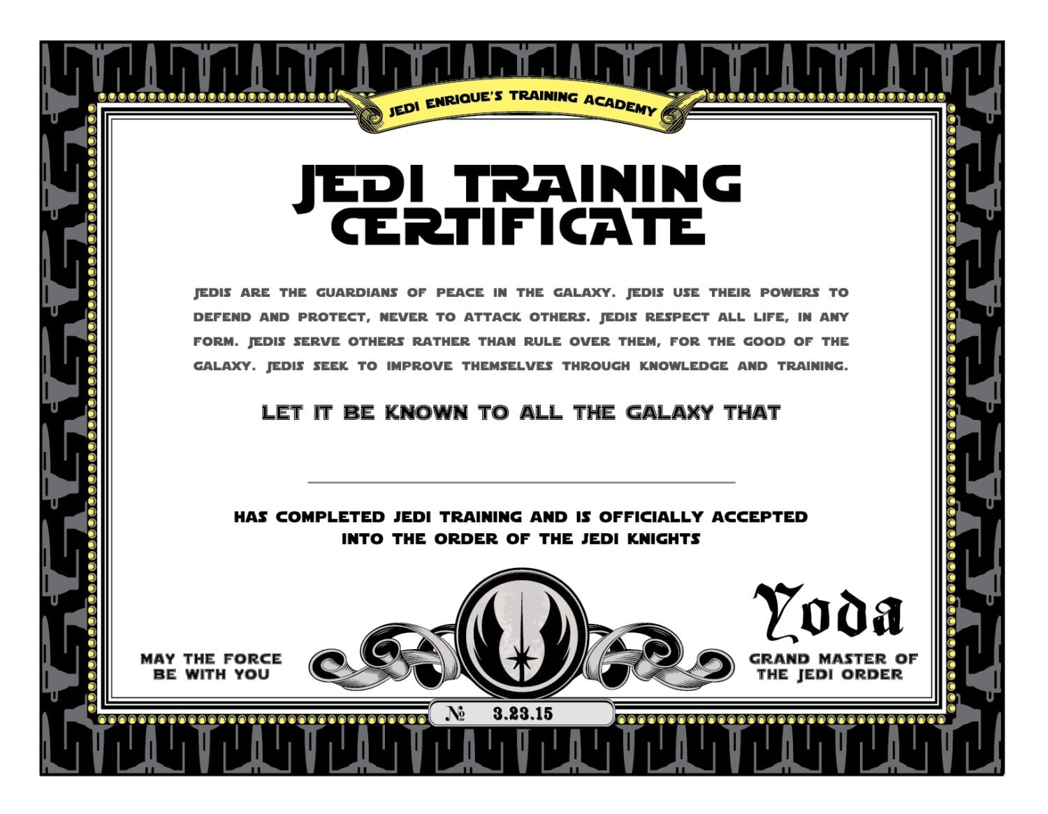 Star wars birthday jedi training certificate printable for Jedi knight certificate template
