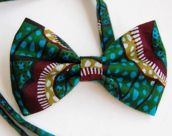 Green & Blue Bow Tie Adjustable Pre Tied Bow Tie African Print Mens Bow Tie Ethnic Print