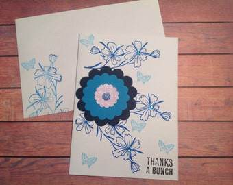 Thank you card, Blank handmade card, floral card, Stamped card, any occasion card, handmade card