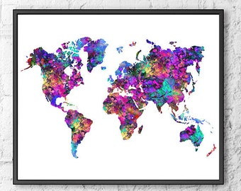 World map print, watercolor map, colorful map poster print, office decor, office art, watercolor print, wall decor - S12