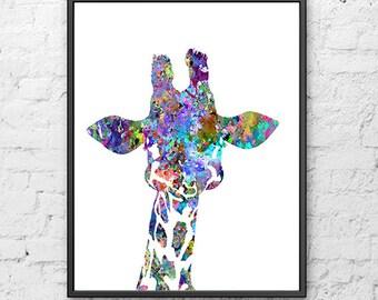 Baby nursery giraffe print nursery animal aprint watercolor painting, watercolor poster, colorful art, archival print, wall print - H18