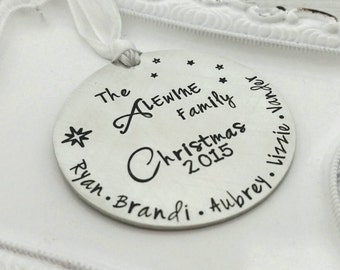Personalized family Christmas ornament - round 2 inch  ornament