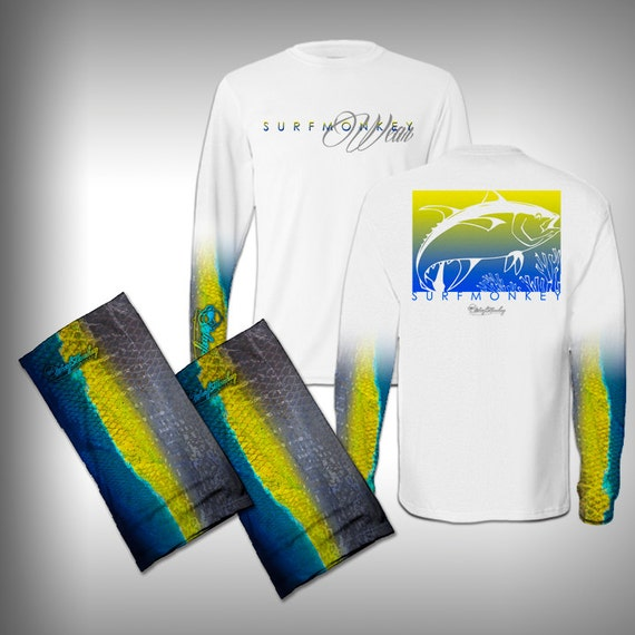 Fish scale sleeve performance shirt and matching face shield for Fish scale shirt