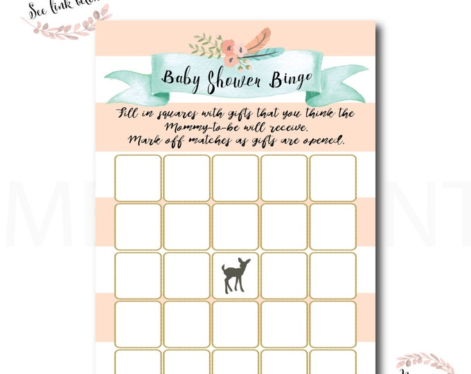 Baby Shower Bingo // Oh Deer // Fawn // Games // Game Cards // Peach // Mint // Gold Glitter // Instant Download // OXFORD COLLECTION