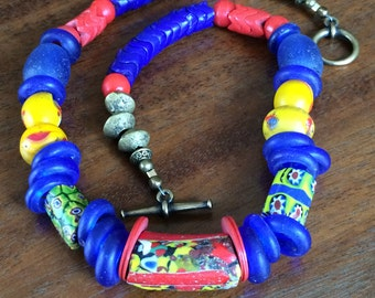 African trade bead necklace in blue, yellow, and red