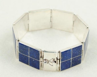 "Sterling Silver Bracelet With Lapis, ""Latitude"""