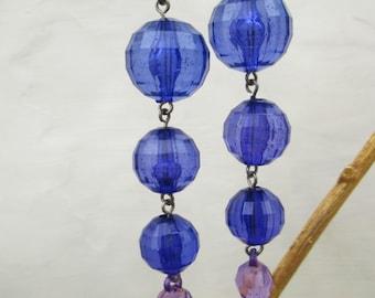 Vintage Blue Violet Lucite Beads Dangle Earrings, Long Drop 80s Pierced