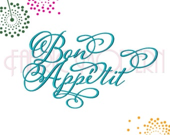 BON APPETIT Embroidery Design, typography design, Great for tea towels, 4,5,6,7 and 8 inches, #636