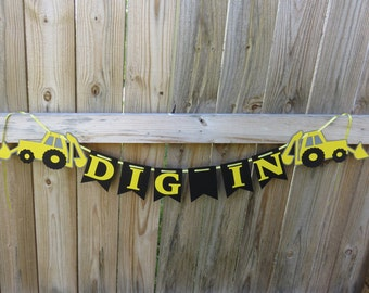 Backhoe Birthday Party, Boy Birthday, Food Banner, Backhoe, Tractor Birthday Party, Dig In, Construction Birthday Banner, Construction