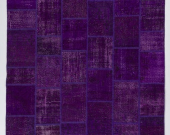 Handmade Turkish Patchwork Rug, Purple