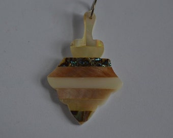 Vintage Mother of Pearl and Abalone Shell Intarsia Pendant (1060362)