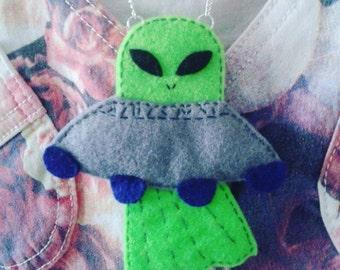 REDUCED Alien Spaceship, UFO felt necklace, felt jewellery