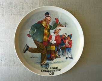 Vintage Plate, The Skating Lesson, Knowles China