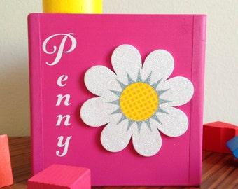 Gift for a baby flower girl first birthday gift for girl custom pink box white flower educational blocks shape sorting toys nature nursery