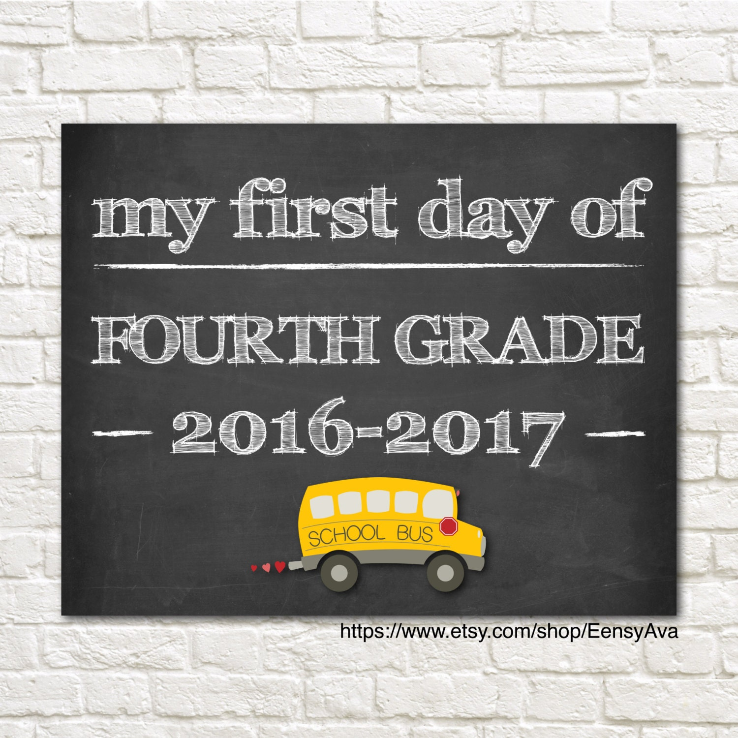 2017 May The 4th Be With You: Chalkboard Sign My First Day Of Fourth Grade By EensyAva