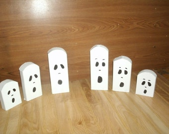 Large Halloween ghost trio, wooden ghost, wood ghost-primitive ghost- rustic Halloween ghost- Halloween decor-ghost