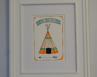 tribal theme nursery art, tepee, native art, nursery art, kids room decor, baby nursery art, whimsical art, watercolor painting