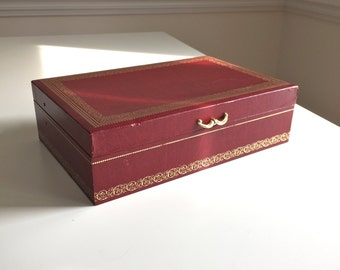 Vintage MELE Jewelry Box MELE Tiered Jewelry Organizer Red Burgundy with Gold Accents Faux Leather Velvet Interior Hooks