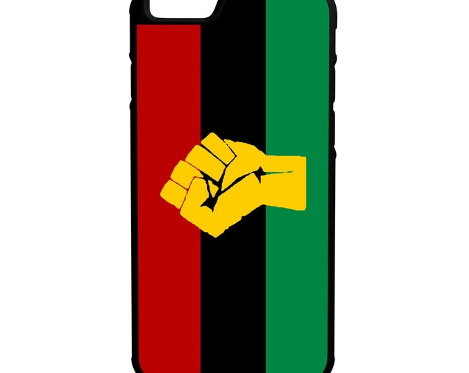 Pan African Flag With Fist iPhone Galaxy Note LG HTC Protective Hybrid Rubber Hard Plastic Snap on Case Black