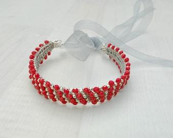 Wedding red bun wrap,Bridal red hair piece, Red bride hairpiece,Crystal bun wrap,Red hair adornment,Elegant hair accessory,Wedding hair wrap