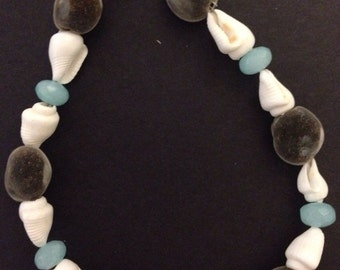 """Big Island Hawaiian Mgambo Seeds with Aquamarine and White Shell Bracelet or Anklet ~ Custom Sizes Between 5""""-14"""" For Every Order!!"""