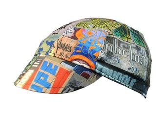 Graffiti moisture wicking cycling cap - handmade cap; moisture wicking cap; bicycle cap; polyester cap; bike wear; cycling clothes